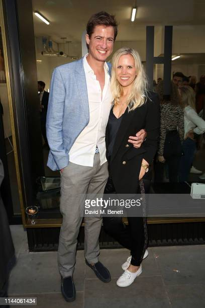 Matt Barber and Lial Barber attends the launch of Oliver Cheshire's new resort wear collection 'CHE' on May 16 2019 in London England