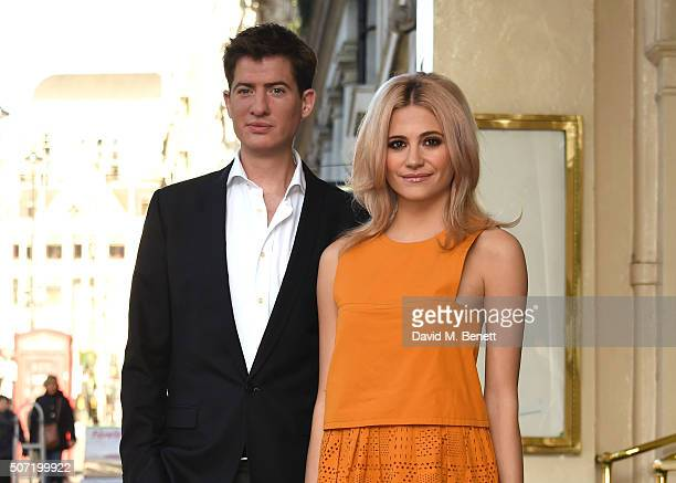 Matt Barber and Pixie Lott pose at a photocall for a new stage adaptation of Truman Capote's Breakfast at Tiffany's at the Theatre Royal Haymarket on...