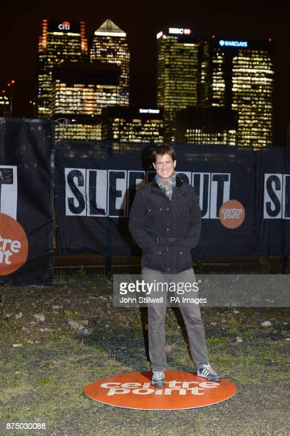Matt Barber takes part in a OcircSleep OutOtilde fundraiser for the Centrepoint charity to help homeless young people at the Greenwich Peninsula Quay...