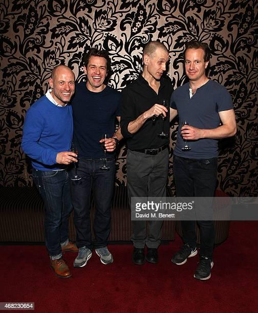 "Matt Bardock, Julian Ovenden, Richard Cant and Geoffrey Streatfeild attend the ""My Night With Reg"" 21st Birthday Gala at The Apollo Theatre on March..."