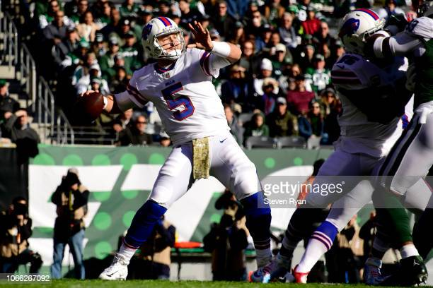 Matt Barkley of the Buffalo Bills throws a first down pass during the first quarter against the New York Jets at MetLife Stadium on November 11, 2018...