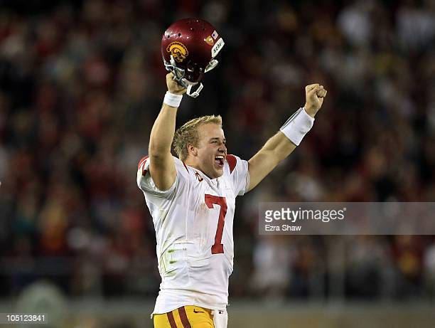 Matt Barkley of the USC Trojans after the Stanford Cardinal missed a extra point attempt at Stanford Stadium on October 9 2010 in Palo Alto California
