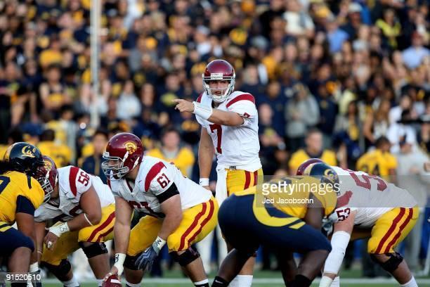Matt Barkley of the USC Trojans in action against the California Golden Bears at Memorial Stadium on October 3, 2009 in Berkeley, California.