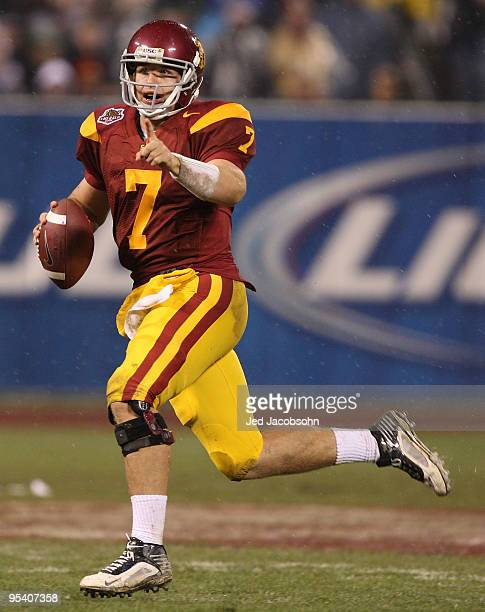 Matt Barkley of the USC Trojans passes against the Boston College Eagles during the 2009 Emerald Bowl at AT&T Park on December 26, 2009 in San...
