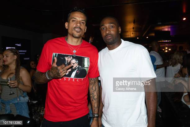 Matt Barnes and Gilbert Arenas attend the Bowl 4 a Cure event hosted by Matt Barnes and Snoop Dogg at Lucky Strike on August 10 2018 in Los Angeles...