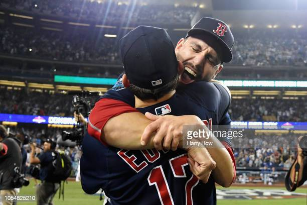 Matt Barnes and Nathan Eovaldi of the Boston Red Sox celebrate their teams 51 win over the Los Angeles Dodgers in Game Five of the 2018 World Series...