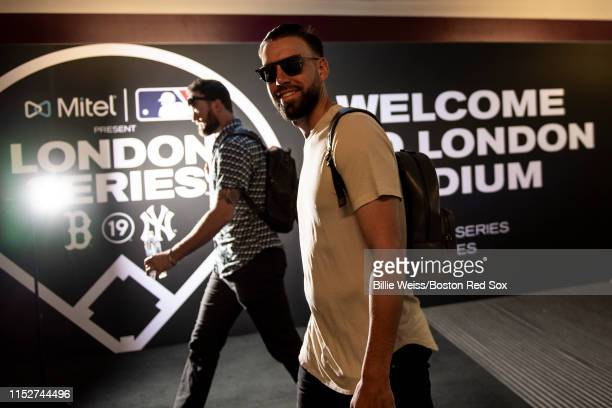 Matt Barnes of the Boston Red Sox arrives before game one of the 2019 Major League Baseball London Series against the New York Yankees on June 29...