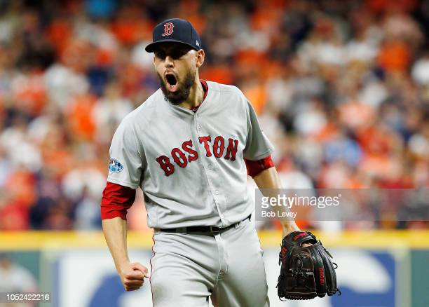 Matt Barnes of the Boston Red Sox celebrates after striking out Tyler White of the Houston Astros to end the seventh inning during Game Four of the...