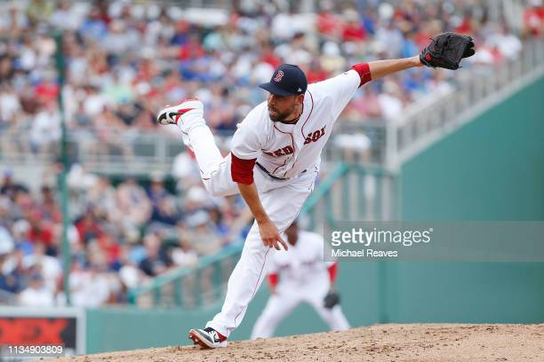 Matt Barnes of the Boston Red Sox delivers a pitch against the New York Mets during the Grapefruit League spring training game at JetBlue Park at...