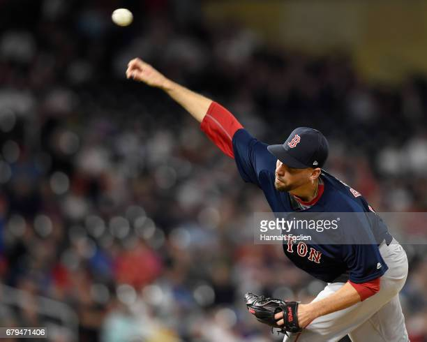 Matt Barnes of the Boston Red Sox delivers a pitch against the Minnesota Twins during the ninth inning of the game on May 5 2017 at Target Field in...