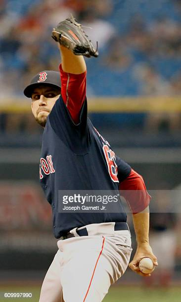 Matt Barnes of the Boston Red Sox delivers a pitch during seventh inning of the game with the Boston Red Sox at Tropicana Field on September 23 2016...