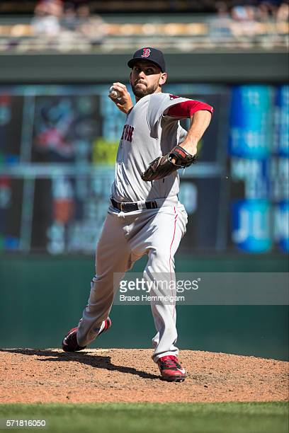 Matt Barnes of the Boston Red Sox pitches against the Minnesota Twins on June 12 2016 at Target Field in Minneapolis Minnesota The Twins defeated the...