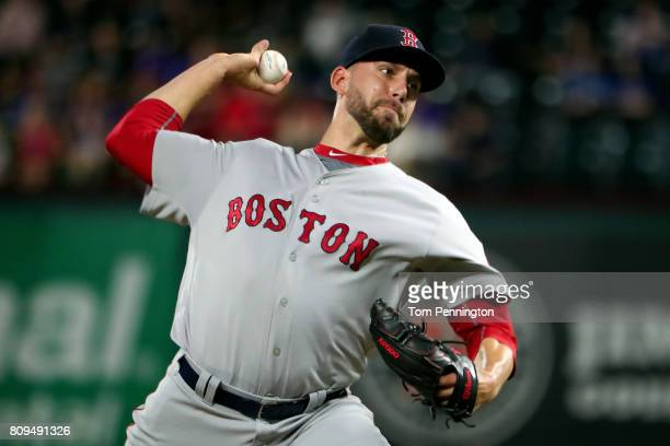 Matt Barnes of the Boston Red Sox pitches against the Texas Rangers in the bottom of the eighth inning at Globe Life Park in Arlington on July 5 2017...