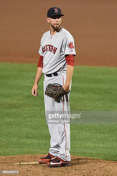 Matt Barnes of the Boston Red Sox pitches during a baseball game against the Baltimore Orioles at Oriole Park at Camden Yards at on August 16 2016 in...