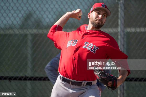 Matt Barnes of the Boston Red Sox pitches during a team workout on February 15 2018 at Fenway South in Fort Myers Florida