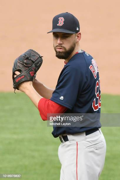 Matt Barnes of the Boston Red Sox pitches during game one of a doubleheader against the Baltimore Orioles at Oriole Park at Camden Yards on August 11...