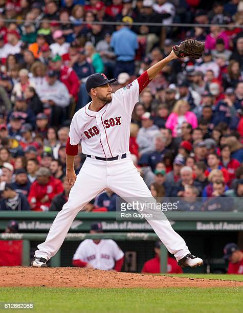 Matt Barnes of the Boston Red Sox pitches during the seventh inning against the Toronto Blue Jays at Fenway Park on October 2 2016 in Boston...