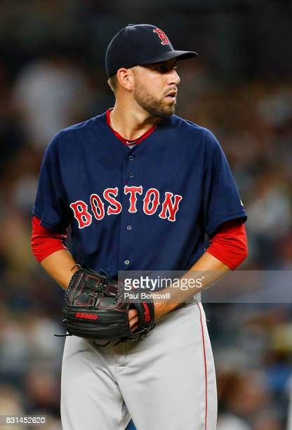 Matt Barnes of the Boston Red Sox pitches in an MLB baseball game against the New York Yankees on August 11 2017 at Yankee Stadium in the Bronx...