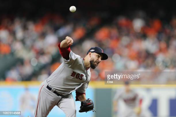 Matt Barnes of the Boston Red Sox pitches in the eighth inning against the Houston Astros during Game Three of the American League Championship...