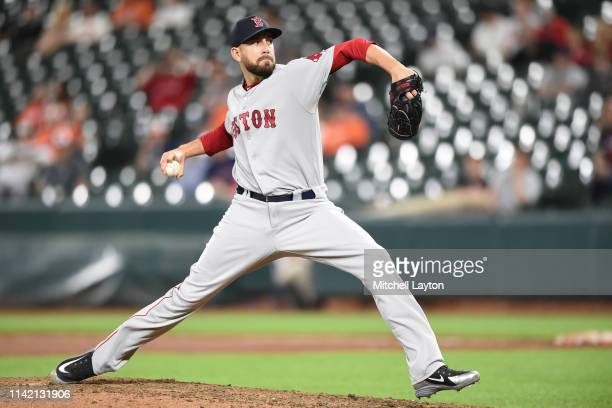 Matt Barnes of the Boston Red Sox pitches in the ninth inning during a baseball game against the Baltimore Orioles at Oriole Park at Camden Yards on...