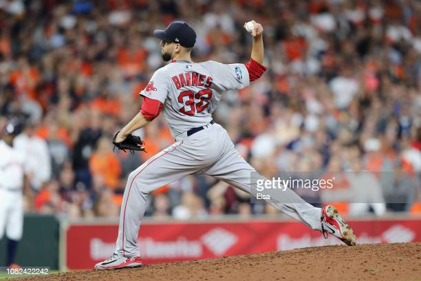Matt Barnes of the Boston Red Sox pitches in the seventh inning against the Houston Astros during Game Four of the American League Championship...