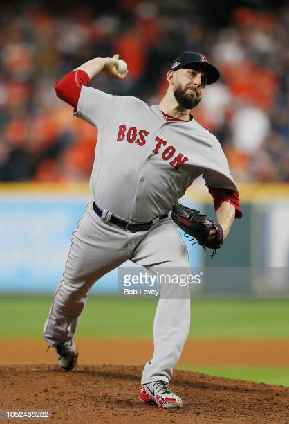 Matt Barnes of the Boston Red Sox pitches in the seventh inning against the Houston Astros during Game Five of the American League Championship...
