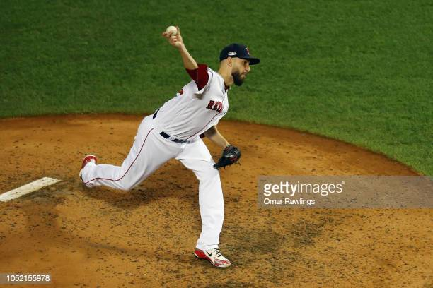 Matt Barnes of the Boston Red Sox pitches in the sixth inning against the Houston Astros during Game Two of the American League Championship Series...