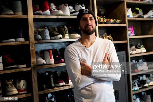 Matt Barnes of the Boston Red Sox poses for a portrait in his closet with his Nike Jordan shoe collection on December 20 2019 at his home in Newtown...