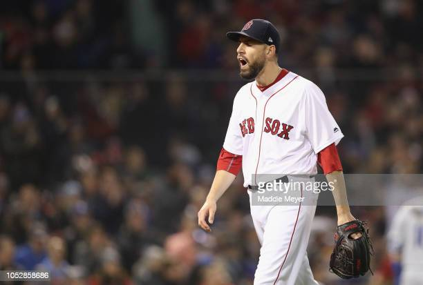 Matt Barnes of the Boston Red Sox reacts after pitching during the fifth inning against the Los Angeles Dodgers in Game One of the 2018 World Series...