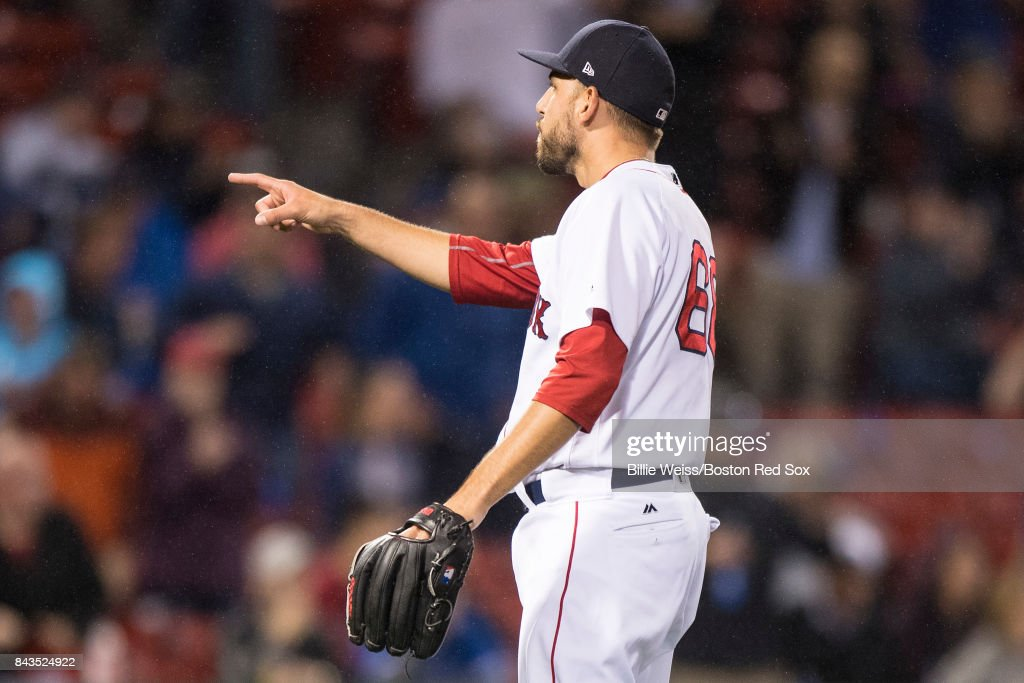 Matt Barnes #68 of the Boston Red Sox reacts during the ninth inning of a game against the Toronto Blue Jays on September 6, 2017 at Fenway Park in Boston, Massachusetts.