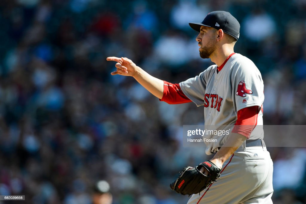 Matt Barnes #68 of the Boston Red Sox reacts to a play against the Minnesota Twins during the game on May 7, 2017 at Target Field in Minneapolis, Minnesota. The Red Sox defeated the Twins 17-6.