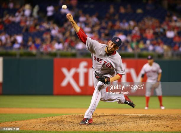 Matt Barnes of the Boston Red Sox throws a pitch in the eighth inning during a game against the Philadelphia Phillies at Citizens Bank Park on June...