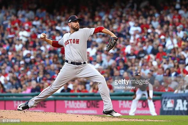 Matt Barnes of the Boston Red Sox throws a pitch in the fourth inning against the Cleveland Indians during game two of the American League Divison...