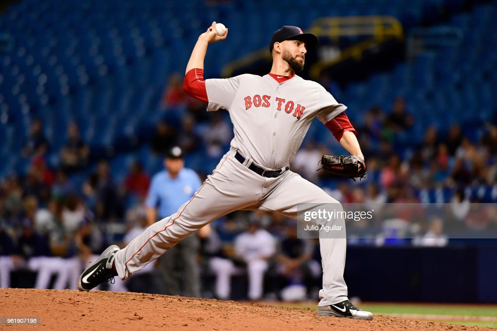 Matt Barnes #32 of the Boston Red Sox throws a pitch in the seventh inning against the Tampa Bay Rays on May 23, 2018 at Tropicana Field in St Petersburg, Florida. The Red Sox won 4-1.