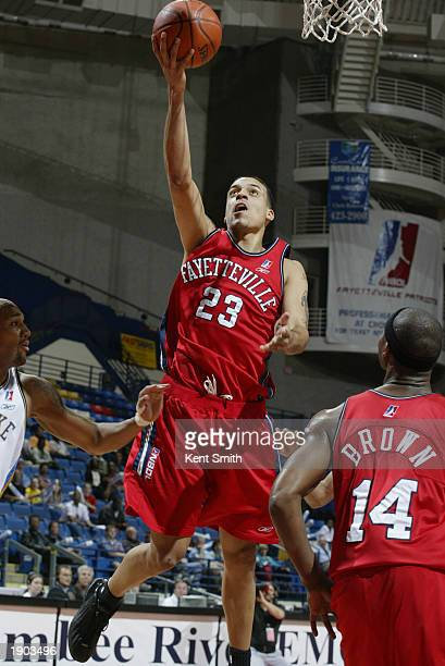 Matt Barnes of the Fayetteville Patriots shoots a layup against the Roanoke Dazzle during Game One of the NBDL Semifinals at the Crown Coliseum on...