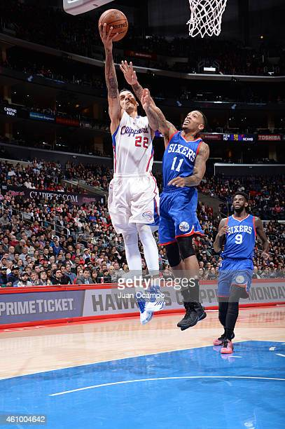 Matt Barnes of the Los Angeles Clippers goes for a layup against Malcolm Thomas of the Philadelphia 76ersduring the game on January 3 2015 at...