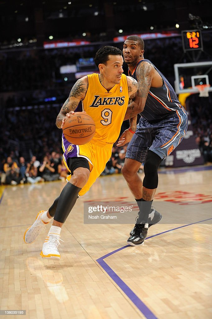 Matt Barnes #9 of the Los Angeles Lakers drives during the game between the Los Angeles Lakers and the Charlotte Bobcats at Staples Center on January 31, 2012 in Los Angeles, California.