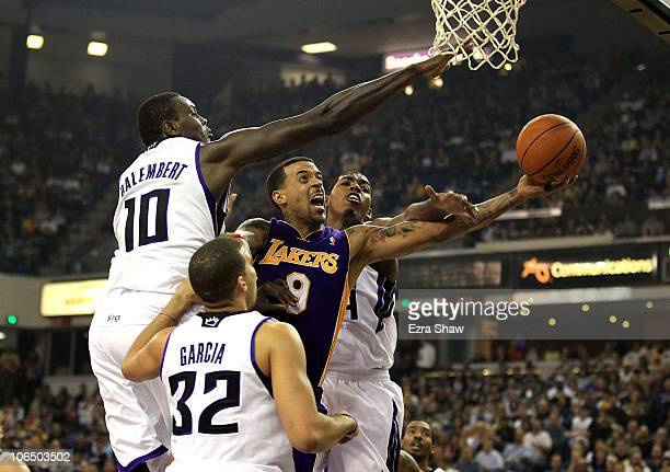 Matt Barnes of the Los Angeles Lakers goes up for a shot against the Sacramento Kings at ARCO Arena on November 3 2010 in Sacramento California NOTE...