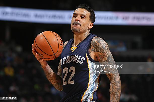 Matt Barnes of the Memphis Grizzlies looks on during a break in the action against the Denver Nuggets at Pepsi Center on February 29 2016 in Denver...
