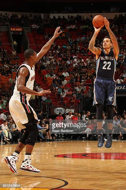Matt Barnes of the Memphis Grizzlies shoots against the Miami Heat during the game on December 13 2015 at American Airlines Arena in Miami Florida...