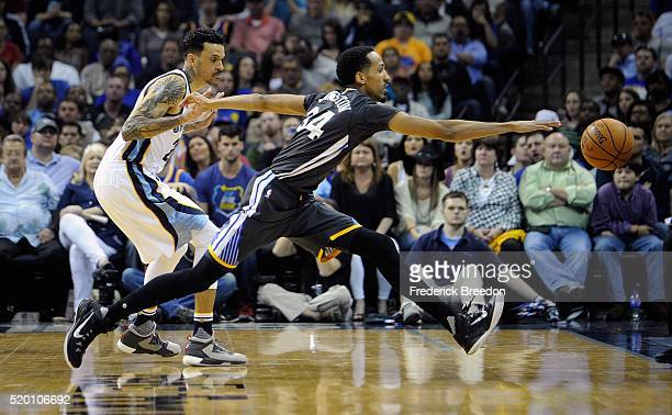 Matt Barnes of the Memphis Grizzlies watches Shaun Livingston of the Golden State Warriors reach for a loose ball during the second half at...