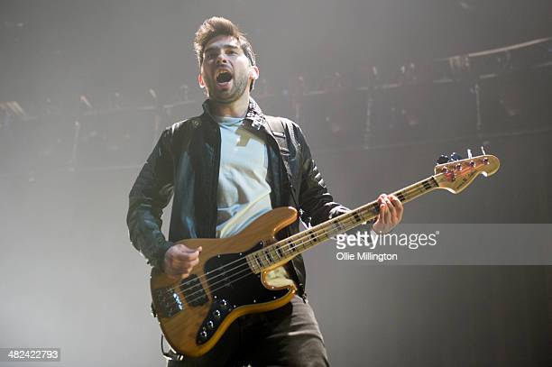 Matt Barnes of You Me At Six performs on stage at Nottingham Capital FM Arena on April 3 2014 in Nottingham United Kingdom