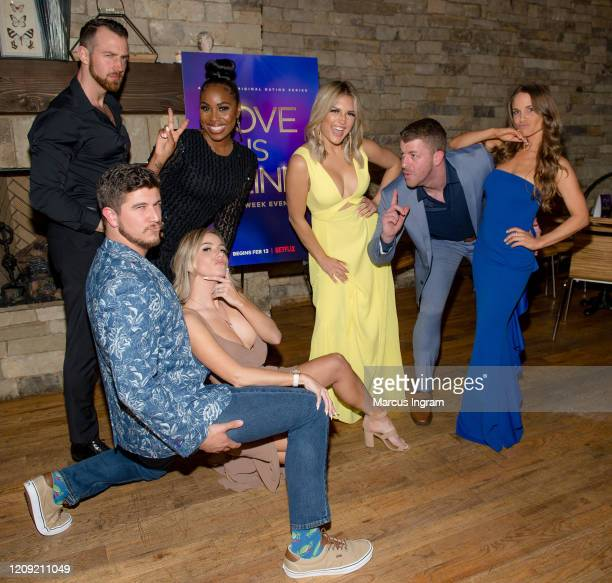 Matt Barnett Amber Pike Cameron Hamilton Lauren Speed Giannina Gibelli Damian Powers and Kelly Chase attend Netflix's Love is Blind VIP viewing party...