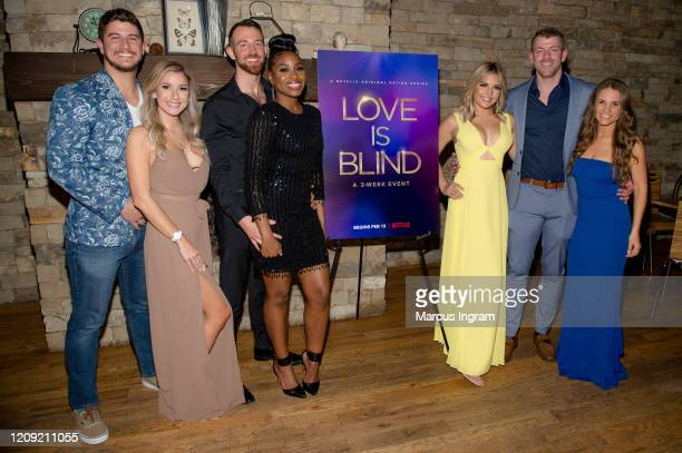 Matt Barnett, Amber Pike, Cameron Hamilton, Lauren Speed, Giannina Gibelli, Damian Powers, and Kelly Chase attend Netflix's Love is Blind VIP viewing...