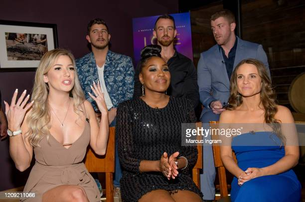 Matt Barnett Cameron Hamilton Damian Powers Amber Pike Lauren Speed and Kelly Chase attend the Netflix's Love is Blind VIP viewing party at City...