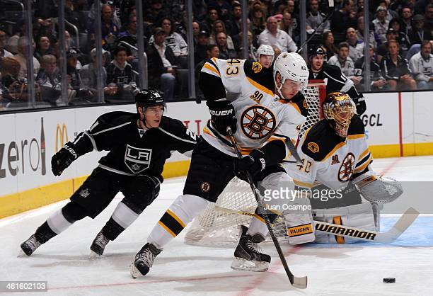 Matt Bartkowski of the Boston Bruins handles the puck during a game against the Los Angeles Kings at STAPLES Center on January 9 2014 in Los Angeles...