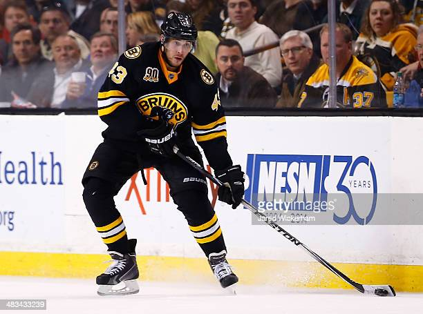Matt Bartkowski of the Boston Bruins plays against the Montreal Canadiens during the game at TD Garden on March 24 2014 in Boston Massachusetts