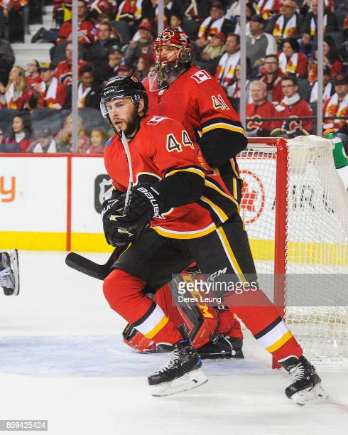 Matt Bartkowski of the Calgary Flames in action against the Winnipeg Jets during an NHL game at Scotiabank Saddledome on October 7 2017 in Calgary...