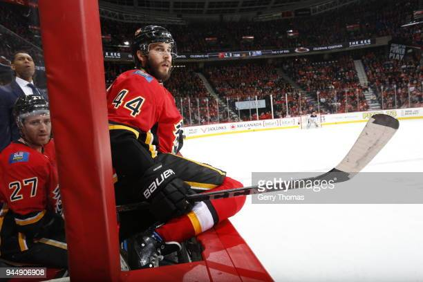 Matt Bartkowski of the Calgary Flames plays against the Edmonton Oilers during an NHL game on March 31 2018 at the Scotiabank Saddledome in Calgary...
