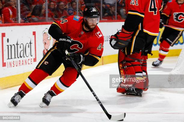 Matt Bartkowski of the Calgary Flames skates against the Edmonton Oilers during an NHL game on March 31 2018 at the Scotiabank Saddledome in Calgary...